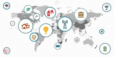 vector illustration of public service options and world map for global international solutions