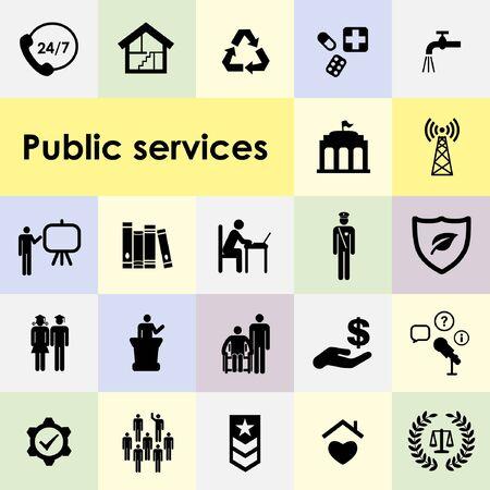 illustration vectorielle d'icônes de service public et de symboles d'options