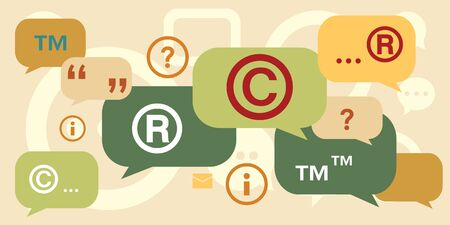 vector illustration of retro vintage colors intellectual rights management and trademark symbols 向量圖像