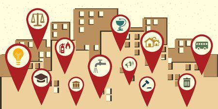 Vektor-Illustration von Symbolen für öffentliche Dienstleistungen rund um das Poster im Wiederholungsstil der Stadt