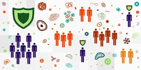 vector illustration of groups of people and viruses for contamination or herd immunity visual