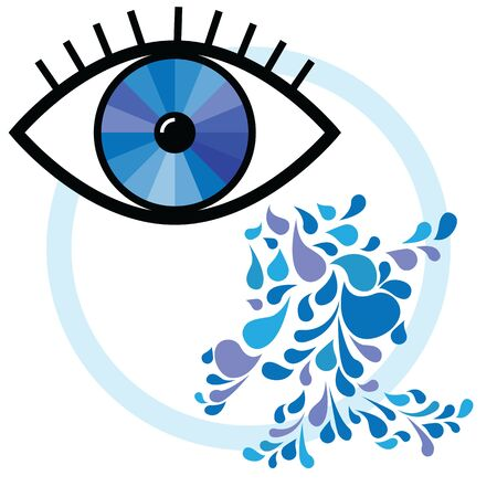 vector illustration of human eye with blue clean tear drops for grief and sadness concept