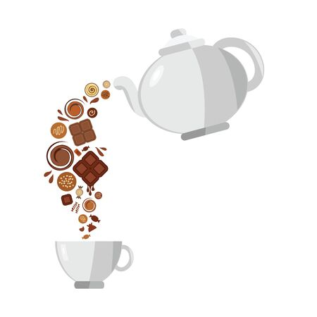 vector illustration of hot chocolate pouring from teapot for sweet drink