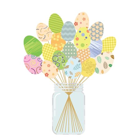 vector illustration of colorful eggs stylized on sticks in a jar for Easter greeting cards designs and decor Ilustracja