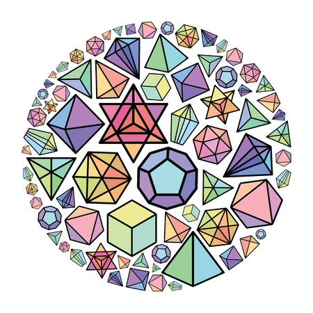 vector illustration of colorful bright polygon shapes in circle design