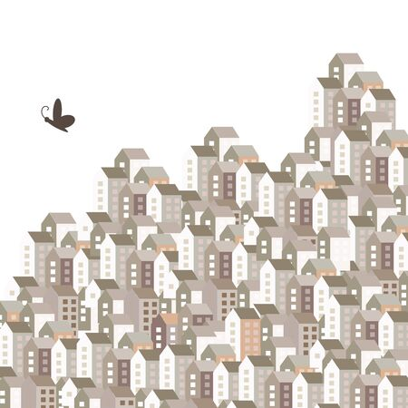 vector illustration of big city homes and butterfly flying above them for freedom and urban concepts