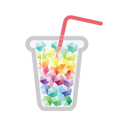 vector illustration of colorful cold drink with rainbow stripes ice and tube in glass Ilustração