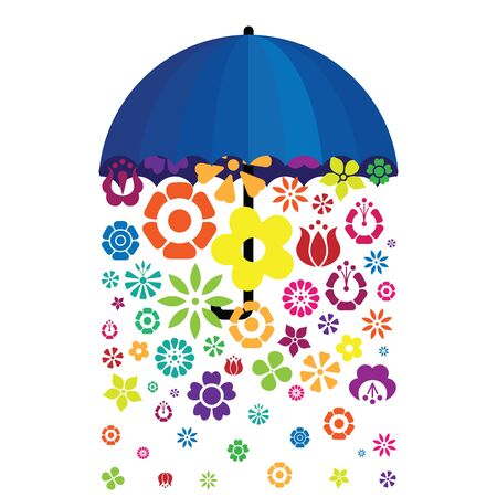 vector illustration of umbrella with falling flowers for creative bright concepts