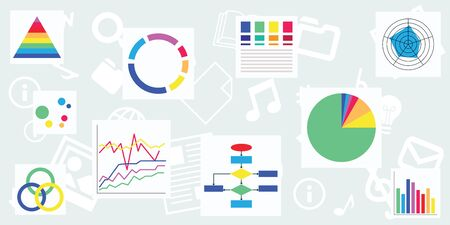 vector illustration of different chart types for analytical monitoring designs and banners Illustration