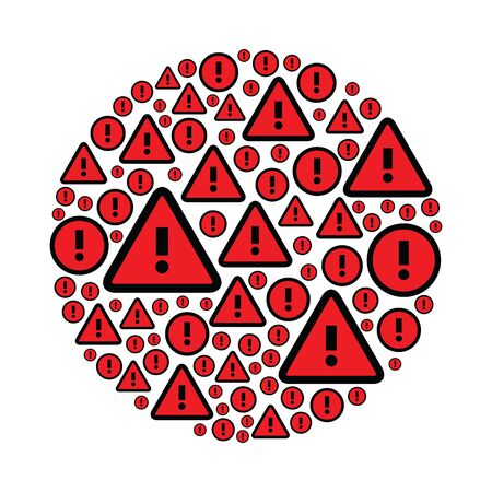 vector illustration of attention marks in circle shape design in red color