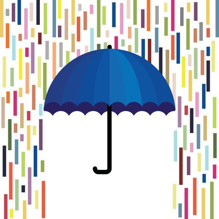 vector illustration of umbrella with colorful stylized rain for creative bright concepts Illustration