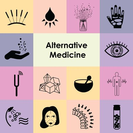 vector illustration of icons set for alternative medicine directions and treatments