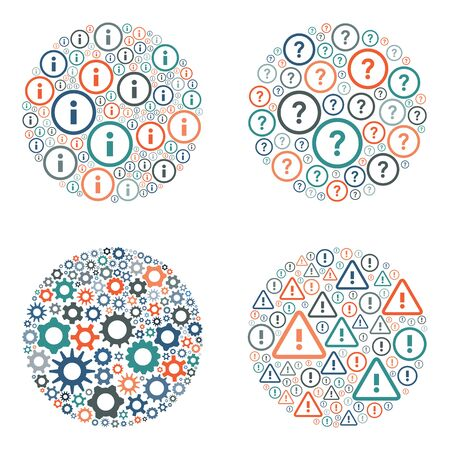 vector illustration of circle shape designs set for settings questions announcements and information concepts
