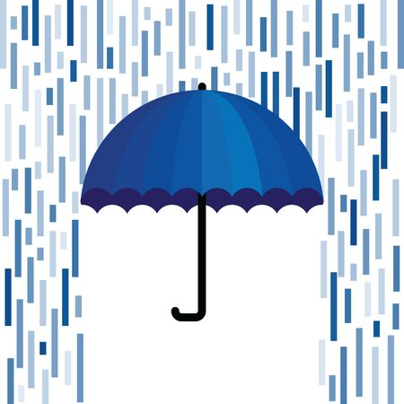 vector illustration of umbrella with blue stylized geometric rain for creative bright concepts