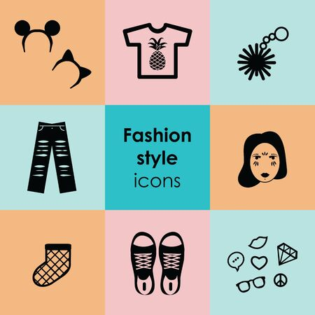 vector illustration of fashion elements in circle design