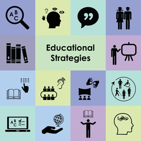 vector icons for educational strategies