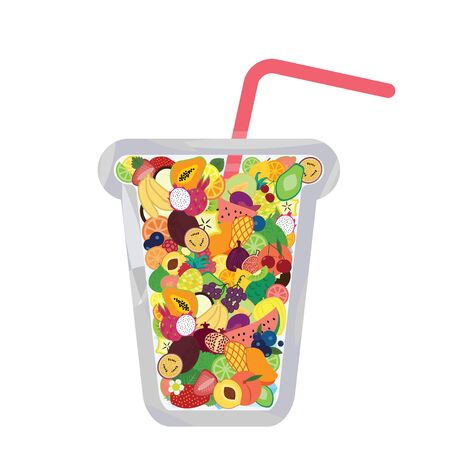 vector illustration of glass full of tiny fruits for cold drink or fresh juice concept