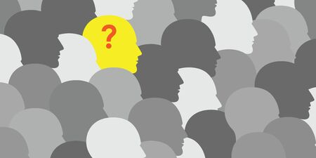 vector illustration of horizontal banner with grey people silhouettes and one person with question mark