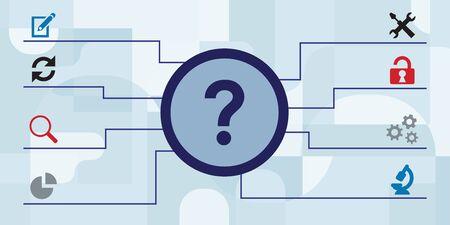 vector illustration of question mark and solutions for tips and tricks concepts Illusztráció