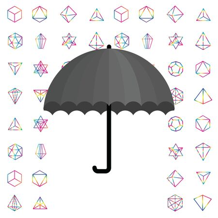 vector illustration of colorful banner with rainbow geometrical shapes and grey umbrella for inspiration concepts Ilustración de vector