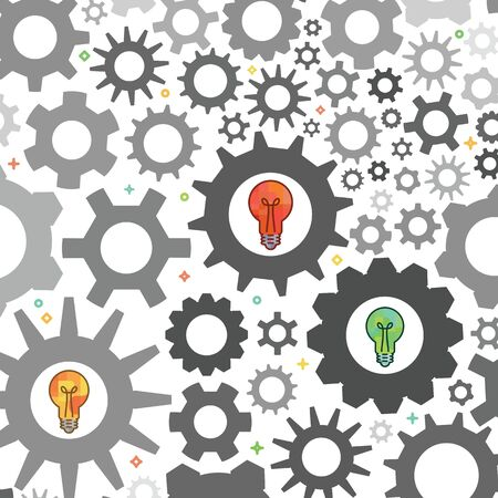 vector illustration of grey gears and colorful bulbs for new ideas in old system concepts