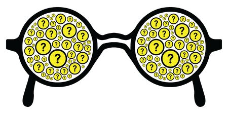 vector illustration of horizontal banner with glasses and question marks for communication problems and beginner guide designs
