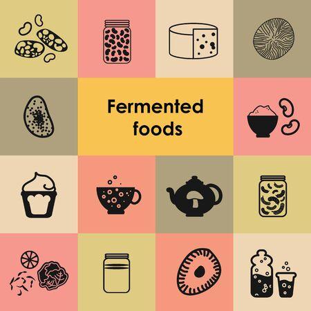 vector illustration of fermented and pickled foods Illustration