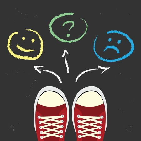 vector illustration for choice between sad and happy faces for psychological problem solving and stopping stress concepts