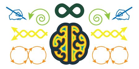 vector illustration of brain visible in keyhole for hidden brain opportunities concepts Illustration