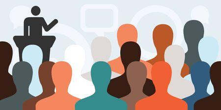 Ilustración vectorial de banner horizontal con siluetas de personas y líder haciendo un discurso Ilustración de vector