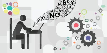 vector illustration of person sitting at desk with computer and working with comments and text writing
