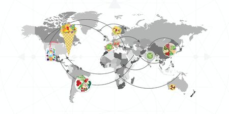 vector illustration for different modern food trends on world map for culinary tourism