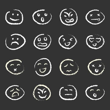 vector illustration for variety of moods for personality types and reactions concepts white chalk emoticons