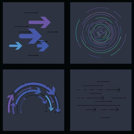 vector illustration for graphic design elements with arrows lines concentric circles in dark blue colors
