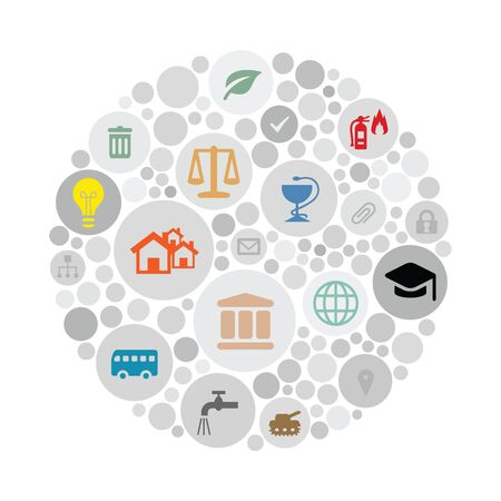 vector illustration of public service icons for managing and city administration concepts in circle shape design