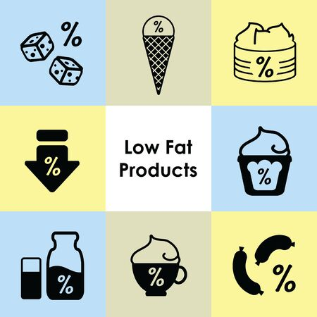 ¬vector illustration of low fat products icons Vettoriali