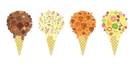 vector illustration for different ice cream waffle cones popular flavors Vetores