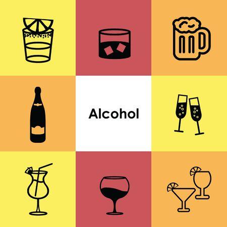 vector illustration for icons set alcohol drinks