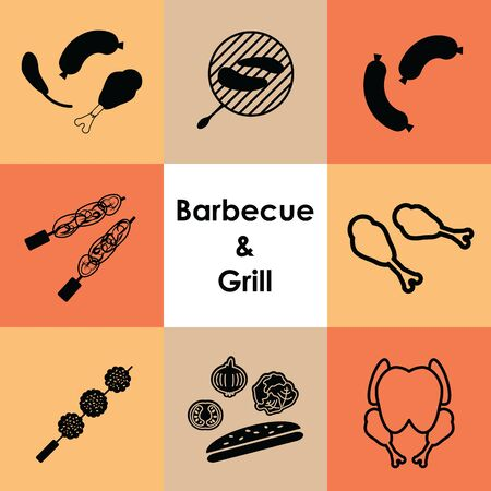 vector illustration for icons set barbecue and grilled meat Ilustracja