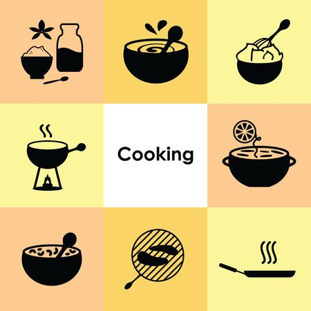 vector illustration for icons set cooking and food preparation