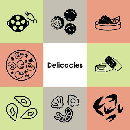 vector illustration for icons set delicacies Иллюстрация