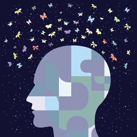 vector illustration of human head and butterflies for creative mind and big dreams concepts