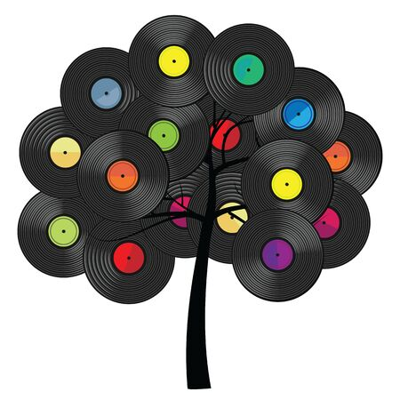 vector illustration of tree with vinyl record plates for nostalgic audio media concepts and designs