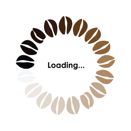 vector illustration of banner with coffee mugs and loading circle bar for prints and cards