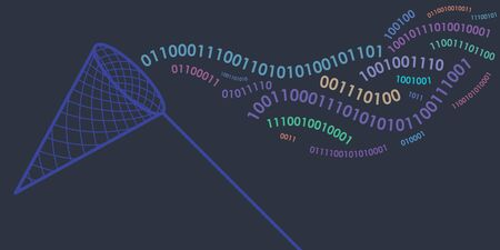 vector illustration of horizontal banner with binary computer code in wave shapes on dark blue background with catching net