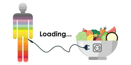 vector illustration of fruits with plug boosting energy for body activity