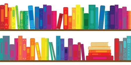 vector illustration of books rows with in rainbow colors for virtual library concepts Ilustração