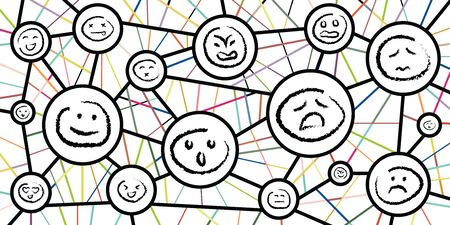 vector illustration for emotional patterns and connections for psychological research concepts on white background