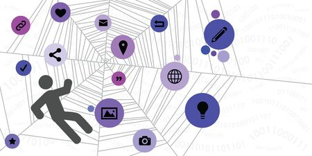 vector illustration of spider web with caught person and social media symbols for internet technologies trap