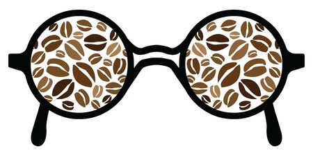 vector illustration for glasses with reflecting coffee beans for coffee drinkers Illustration
